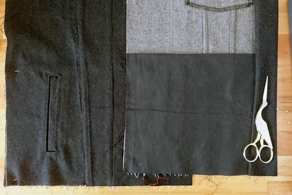 Leistentaschen, Außenansicht und Innenansicht mit geschlossenem Taschenbeutel